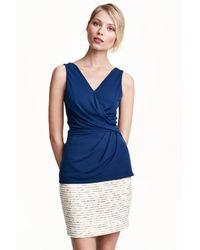 H&M | Blue Wraparound Top | Lyst