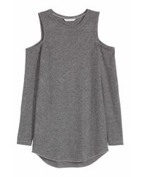 H&M | Gray Cold Shoulder Top | Lyst