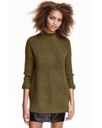 H&M   Green Knitted Turtleneck Jumper   Lyst