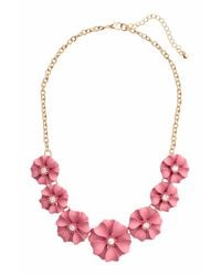H&M | Pink Short Necklace With Flowers | Lyst
