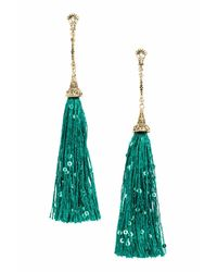 H&M - Green Long Earrings With Tassels - Lyst