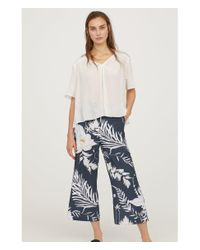 H&M - Blue Patterned Culottes - Lyst