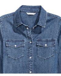H&M - Blue Fitted Denim Shirt - Lyst