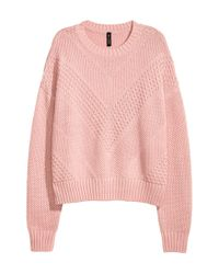 H&M - Pink Textured-knit Jumper - Lyst