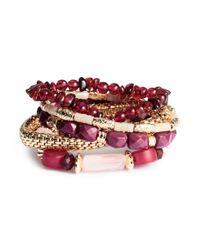 H&M - Purple 5-pack Elastic Bracelets - Lyst
