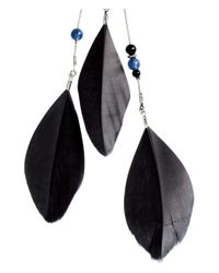 H&M | Black Earrings With Feathers | Lyst