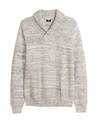 H&M - Gray Cotton Shawl-collar Jumper for Men - Lyst