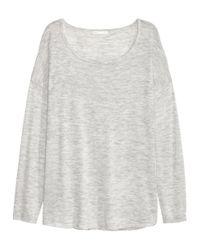 H&M - Gray Fine-knit Jumper - Lyst