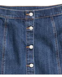 H&M - Blue Denim Skirt - Lyst