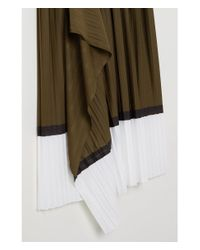 H&M - Green Pleated Wrapover Skirt - Lyst