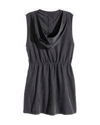 H&M - Black Hooded Gilet - Lyst