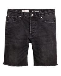H&M - Black Denim Shorts for Men - Lyst