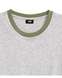 H&M - Gray Cotton T-shirt for Men - Lyst