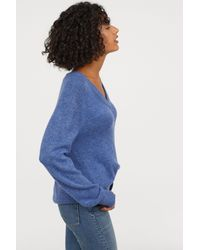 H&M - Blue V-neck Sweater - Lyst
