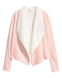 H&M | Pink Pile-lined Cardigan | Lyst