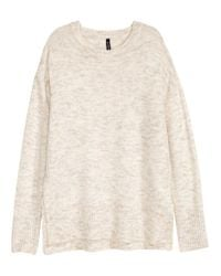 H&M - Natural Oversized Jumper - Lyst