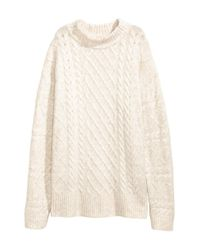 H&M White Cable-knit Jumper