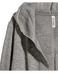 H&M - Gray Hooded Cardigan - Lyst
