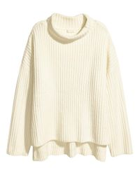 H&M | White Wide Polo-neck Jumper | Lyst