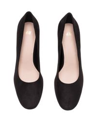 H&M Black Block-heel Court Shoes
