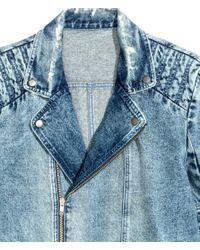 H&M Blue Denim Biker Jacket for men