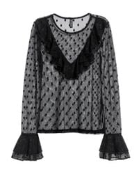 H&M | Black Mesh Frilled Top | Lyst