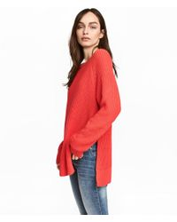 H&M - Red Knitted Jumper - Lyst