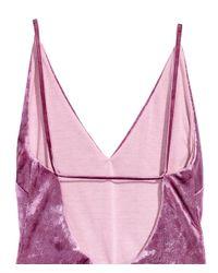 H&M - Pink Crushed Velvet Body - Lyst
