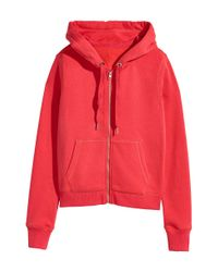 H&M - Red Hooded Jacket - Lyst