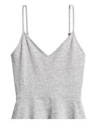 H&M - Gray Short Jersey Dress - Lyst