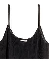 H&M - Black Pleated Chiffon Strappy Top - Lyst