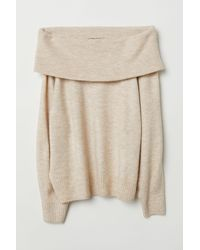 H&M - Natural + Knit Sweater - Lyst