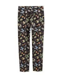H&M - Black Jacquard-patterned Trousers - Lyst