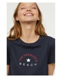 H&M - Blue Printed T-shirt - Lyst
