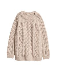 H&M - Natural Knit Wool-blend Sweater - Lyst