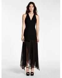 Halston   Black Crepe Georgette Combo Dress   Lyst