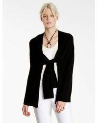 Halston | Black Cashmere Blend Poncho Sweater Cardigan | Lyst
