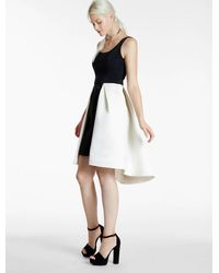 Halston | Black Color Blocked Satin Faille Dress With Cut Outs | Lyst