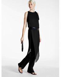 Halston | Black Asymmetric Drape Top With Beading | Lyst