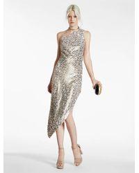 Halston | Metallic One Shoulder Sequined Dress | Lyst