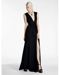 Halston | Black Draped Jersey Gown | Lyst
