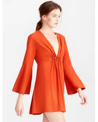 Halston | Orange Bell Sleeve Mini Crepe Dress | Lyst