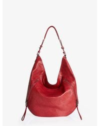 Halston | Red Elsa Medium Zip Hobo Bag | Lyst