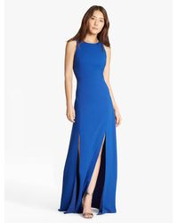 Halston | Blue Crepe Gown With Slits | Lyst