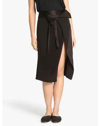 Halston | Black Faux Wrap Satin Back Crepe Skirt | Lyst