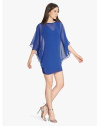 Halston | Blue Chiffon Overlay Ponte Dress | Lyst