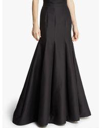 Halston | Black Silk Faille Structured Skirt | Lyst