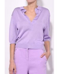 Tibi - Purple Crispy Sweater Polo In Lavender - Lyst