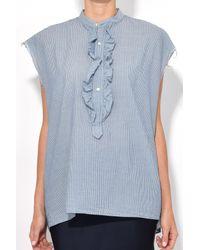 Nili Lotan - Blue Charlton Shirt In Indigo Ivory Stripe - Lyst