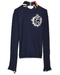 Co. - Blue Embroidery Ottoman Pullover In Marine Fonce - Lyst